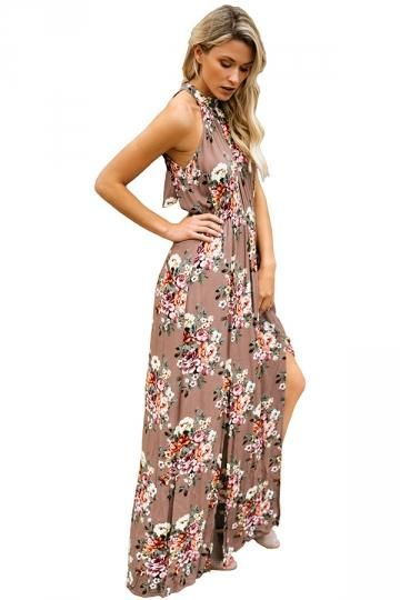 847d248b58 Boho Halter Neck Sleeveless Floral Print Front Split Maxi Dress – Pricends