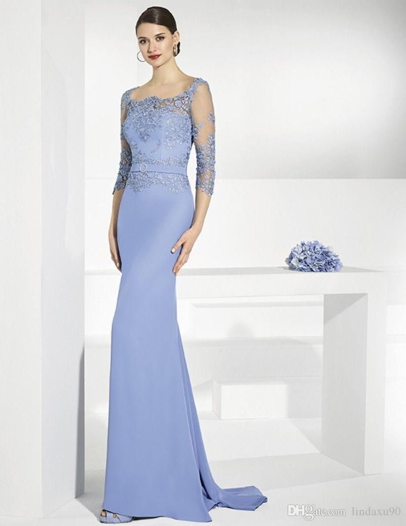 Elegant Blue Mother Of the Bride Dresses Mermaid Lace ...