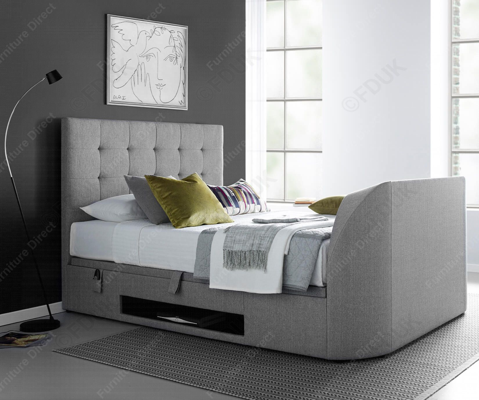 Fabulous Kaydian Beds Barnard Light Grey Fabric Ottoman Tv Bed Fduk Gmtry Best Dining Table And Chair Ideas Images Gmtryco