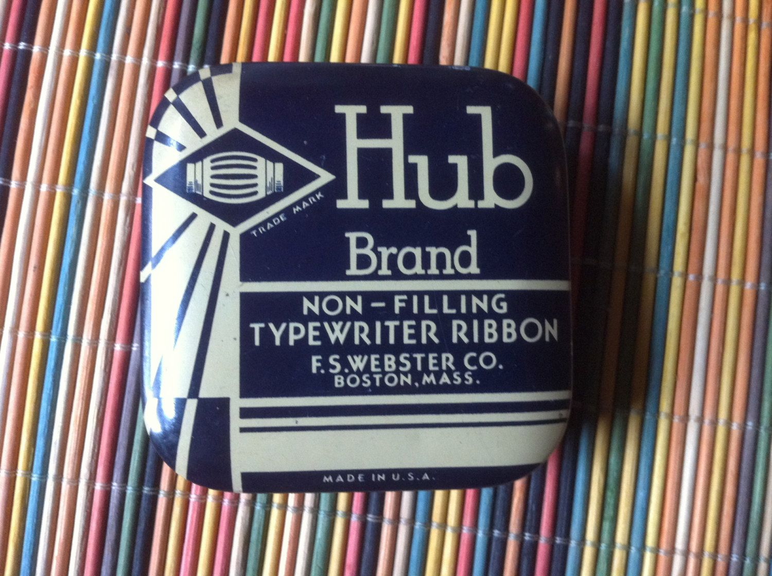 "vintage Hub Brand Non Filling typewriter ribbon old metal tin store herbs in it 2 1/2"" by 3/4"" by stockintrade on Etsy"