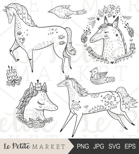 Hand Drawn Horse Clip Art Cute Pony Clipart Hand Drawn Horse Portrait Clipart Floral Horse Clipart Farm Animal Clipart Beautiful Horses Dibujos Dibujos De Animales Aprender A Dibujar Animales
