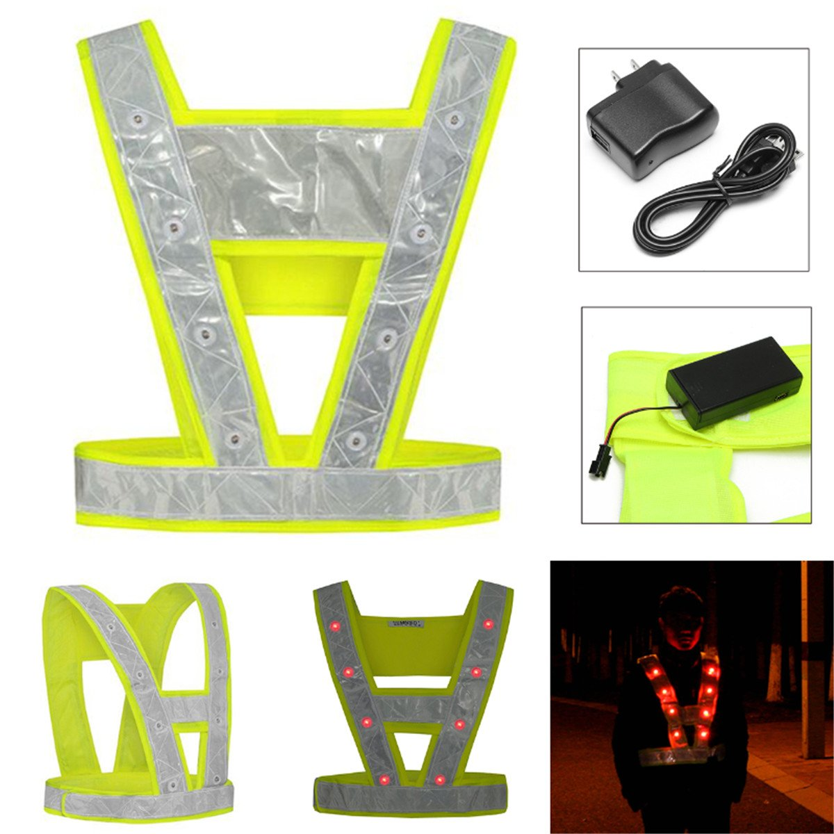Cycling Running 16 LED Light Up Reflective Stripes Safety