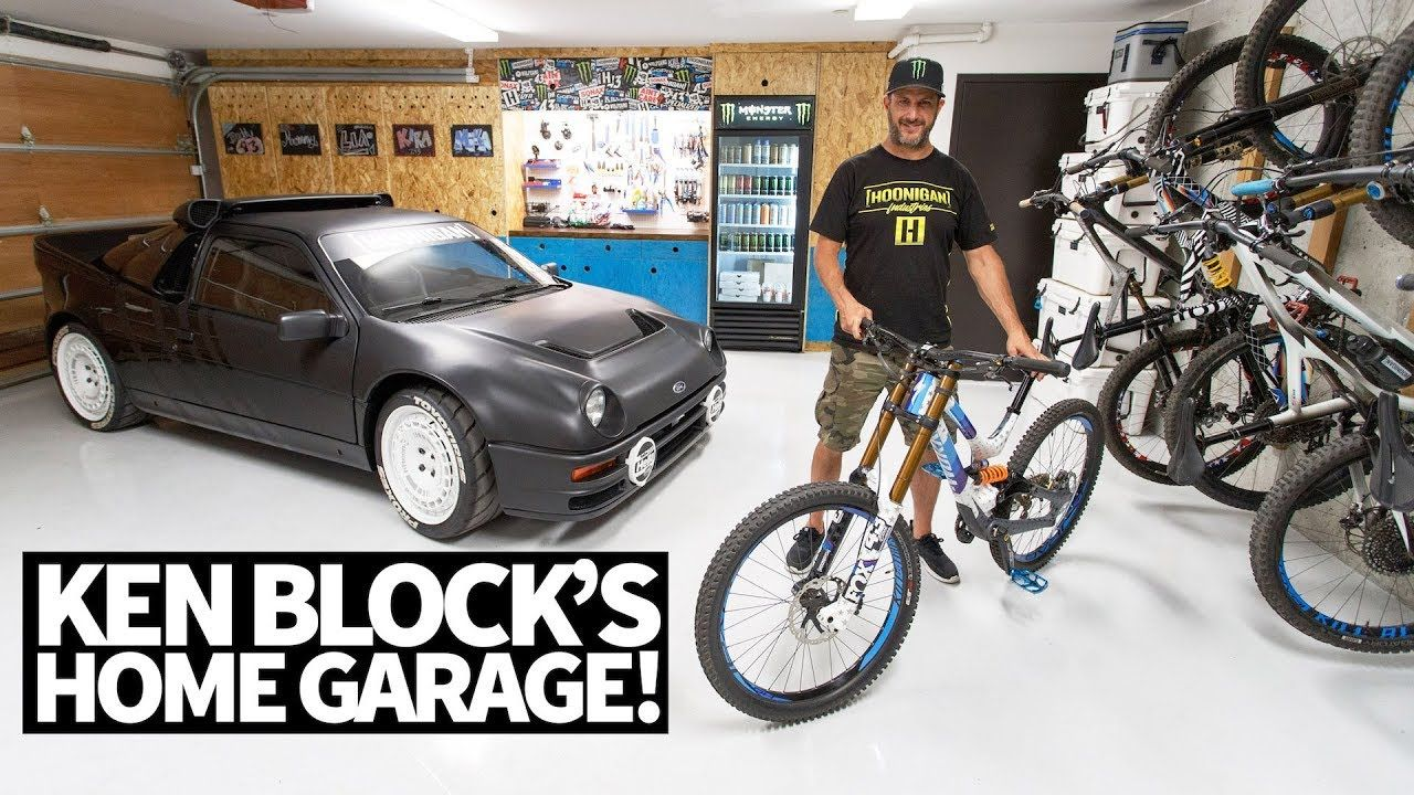 Ken Block S Ultimate Home Garage Downhill Mountain Bikes Ford Rs200 A Downhill Mountain Biking Ken Blocks Mountain Biking