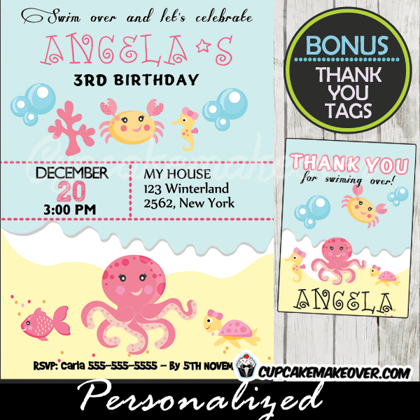 under the sea birthday party invitation girls personalized d3 in