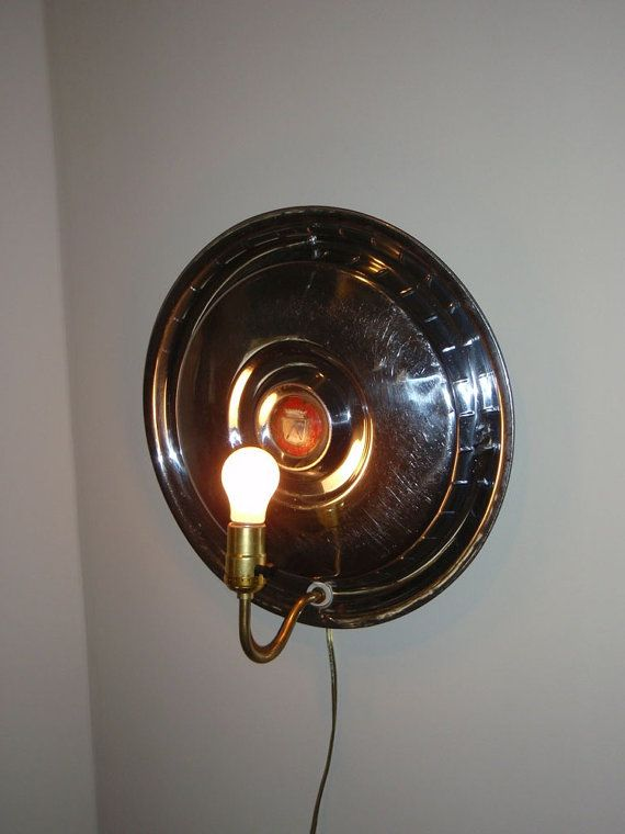 Man Cave Wall Sconce Hanging Lamp Ford Classic Car Hubcap No