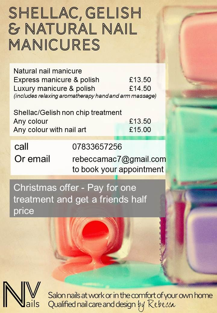 Menu Of Prices Natural Nails Manicure Nail Manicure Nails At Home