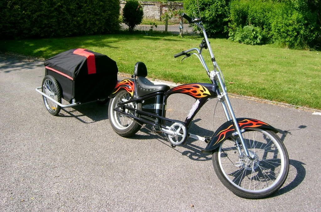 sakura mustang electric chopper bicycle with trailer photo. Black Bedroom Furniture Sets. Home Design Ideas
