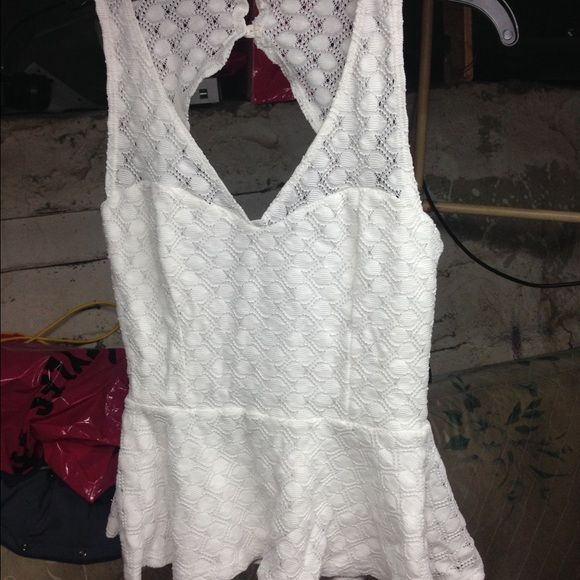 Charlotte Russe Tops - White lace peplum top