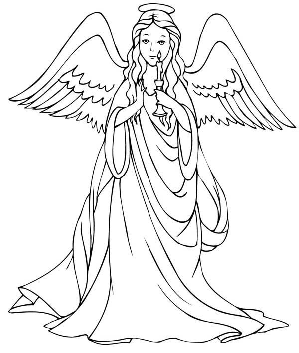 Angels, : Loving Angels Holding Candle Coloring Page | coloring 4 ...