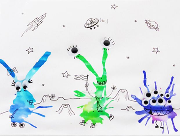 Klecksmonster Basteln Space Diy For Kids Und Universe