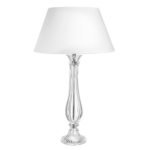 Lampe en verre et abat jour en coton blanc H 68 cm ELISE