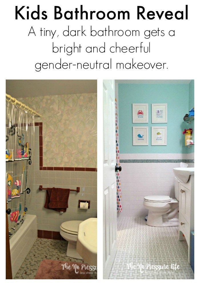 Colorful Kids Bathroom Makeover The No Pressure Life Kids Bathroom Makeover Kids Bathroom Kids Bathroom Colors