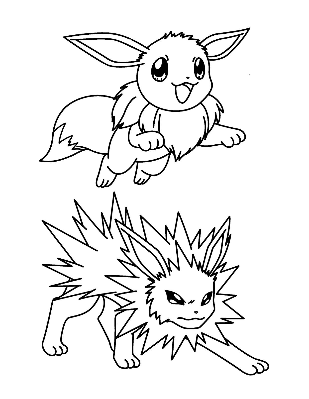 Eevee And Jolteon Coloring Pages Pokemon Coloring Pages Eevee