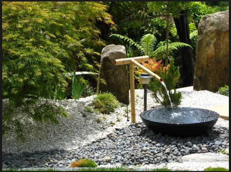 Acer, Gravel And Water Feature