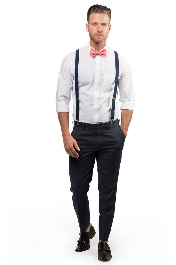 9d3df55c75f82 Coral Bow Tie & Navy Suspenders with Coral Pocket Square for Baby Toddler  Boy Men