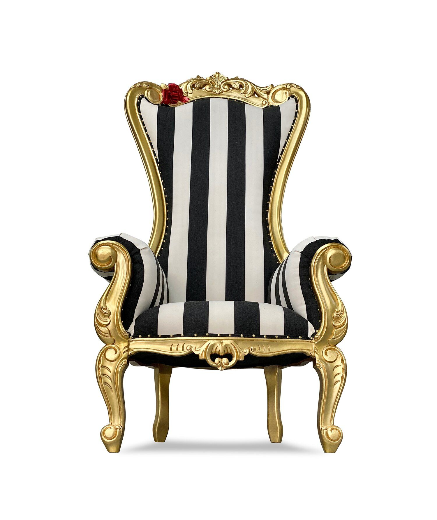 70 Isabella Ii Throne Gold Pinstripe Chiseled Perfections In 2020 Throne Throne Chair Fabric Seat