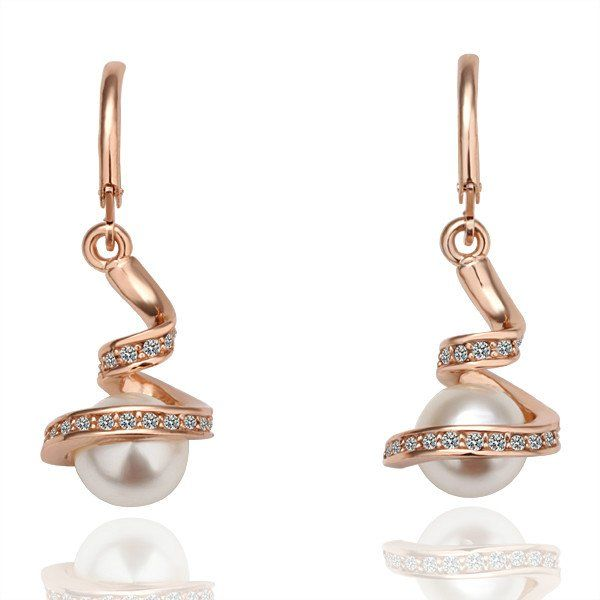 18KGP E011 18K Gold Plated Earrings Health Jewelry Nickel Free K Golden Plating Imitation Pearl Austrian Crystal Element(China (Mainland))