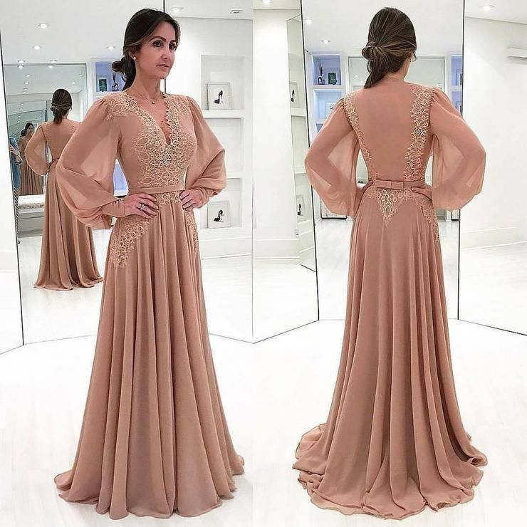 Charming V-neck Long A-line Chiffon Lace Prom Dresses. Long Sleeves Evening Dress #zivilhochzeitskleider Charming V-neck Long A-line Chiffon Lace Prom Dresses. Long Sleeves Evening Dress #zivilhochzeitskleider