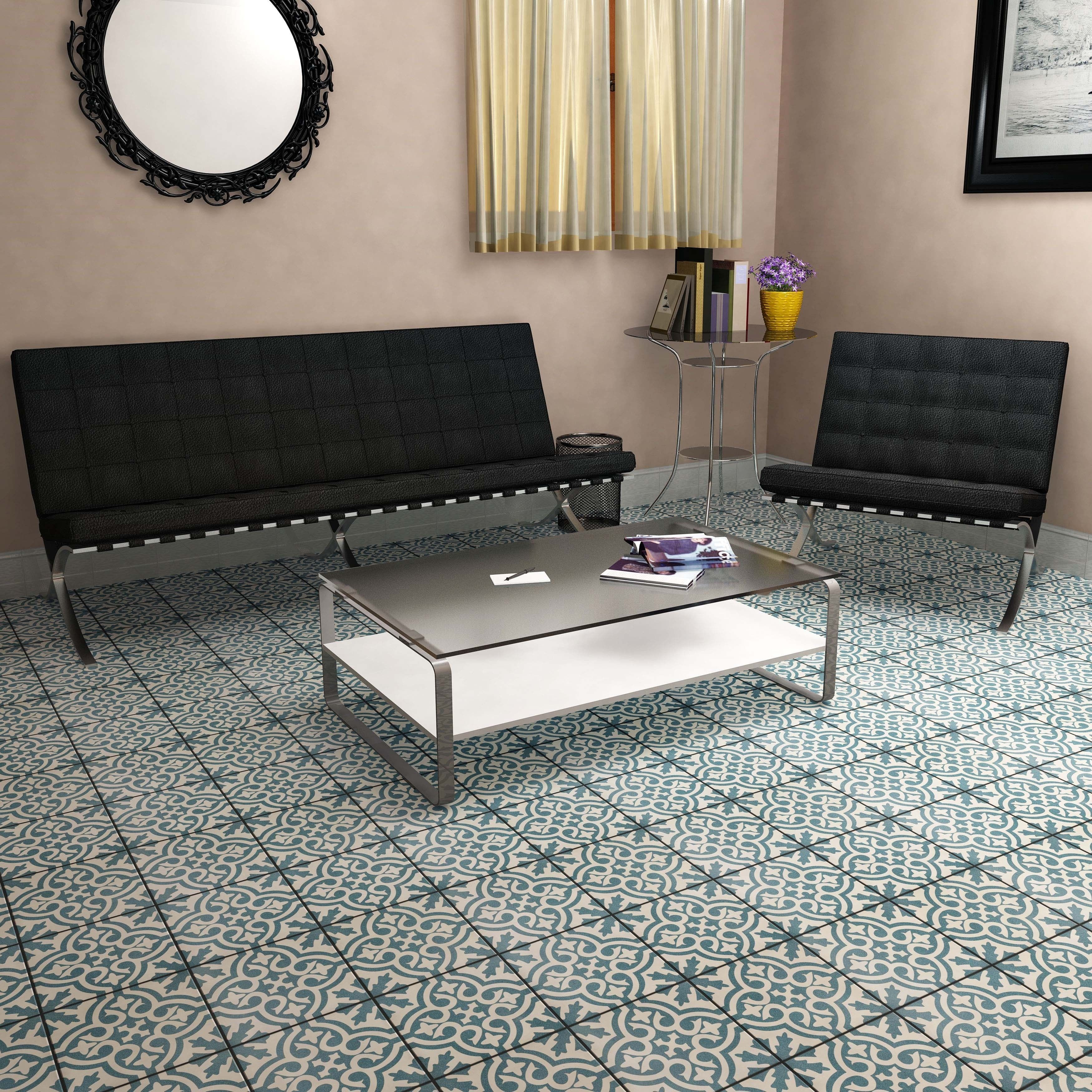 Somertile 17625x17625 inch tudor blue ceramic floor and wall buy cement tile from overstock for everyday discount prices online get everyday free dailygadgetfo Images