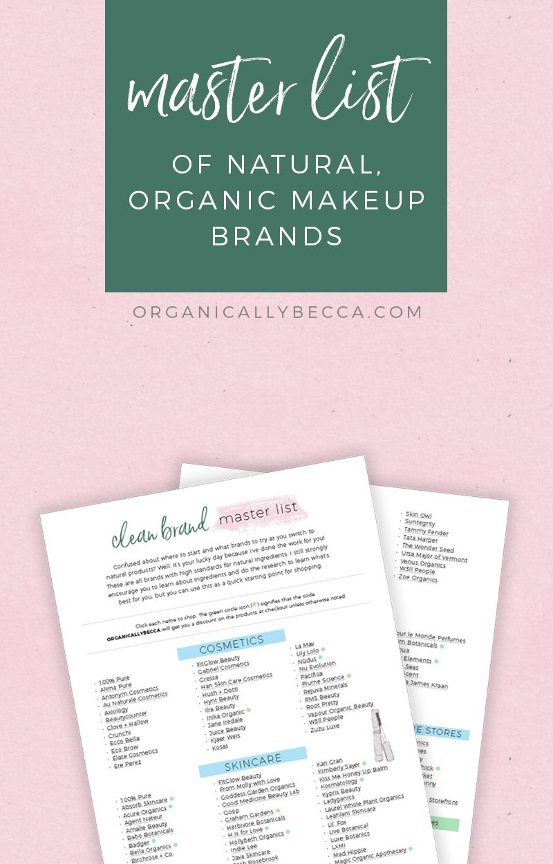 Directory Clean Brand Master List Organic Skin Care Routine Green Beauty Makeup Skin Care