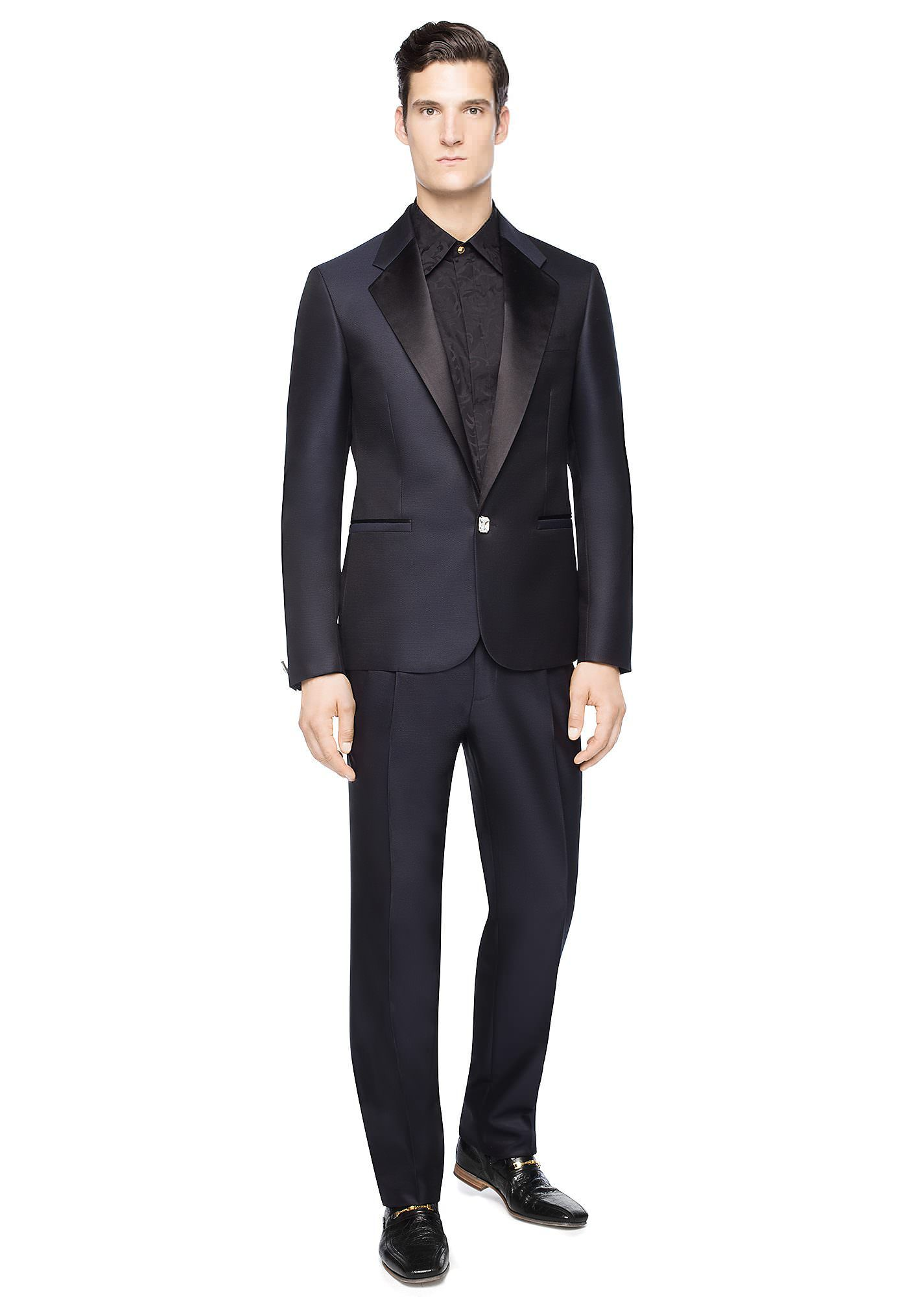 81bb932b Versace Silk-Wool Jacquard Suit | Men's Versace Clothing | Silk wool ...