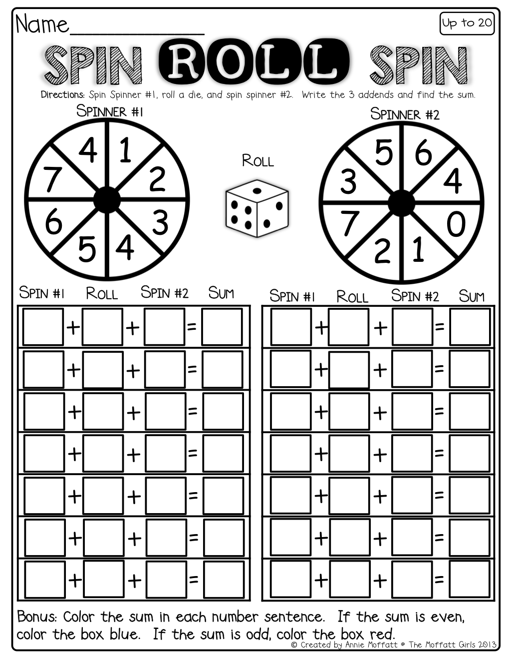 Interactive math spin the spinner roll the dice and spin again interactive math spin a spinner roll a die and spin the spinner such a fun way to practice adding 3 numbers you can use a paper clip and pencil to make robcynllc Image collections