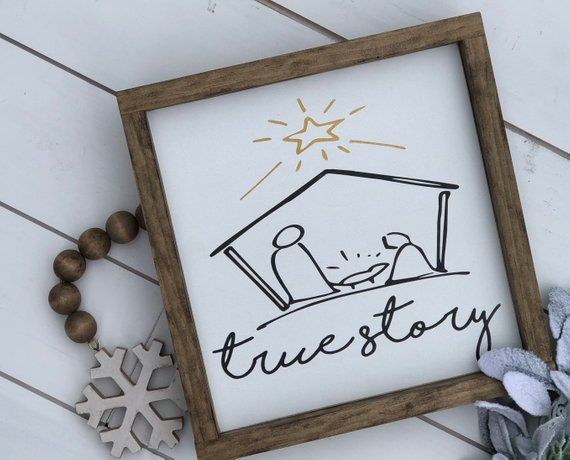 Photo of Nativity Christmas sign | true story nativity wood sign | Christmas story | baby Jesus