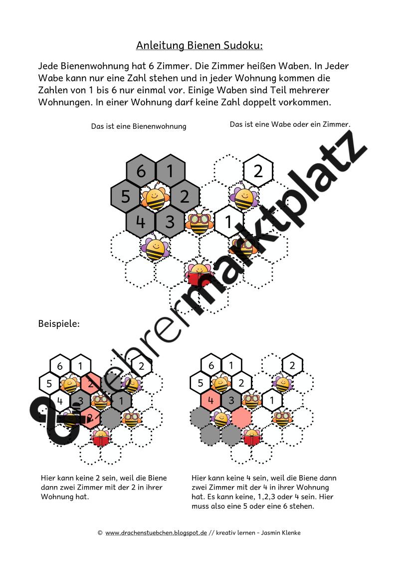 Bienen Sudoku – Lehreralltag, Mathematik | Pinterest ...