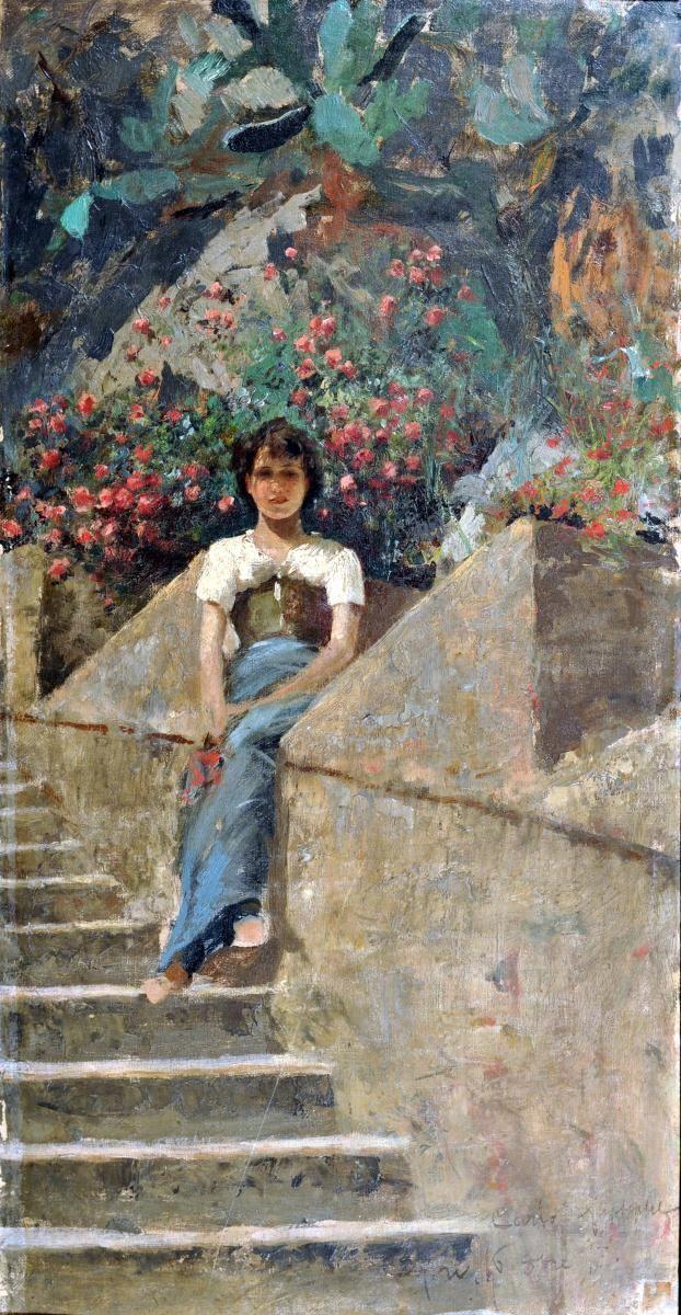 Di Giuseppe Carlo (Capri 1866 - 1910) Ritratto femminile olio su tela rip. su cartone, cm 53,5x28 firmato, datato e iscritto in basso a destra: Carlo Di Giuseppe Capri 16 8BRE 95
