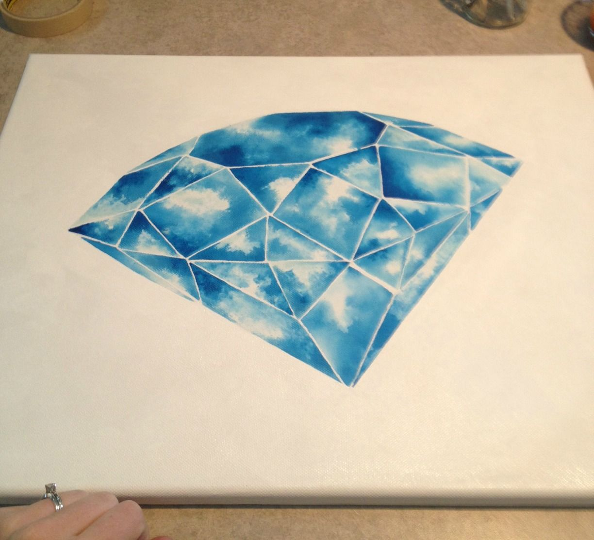Geometric diamond painting on canvas by vicki anne melo for Pictures to draw on canvas