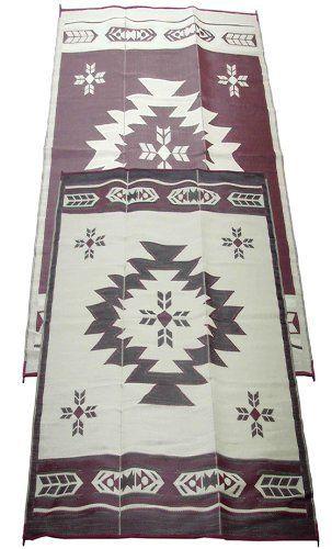 Fireside Patio Mats Navajo Breeze Burgundy And Beige 9 Ft X 18 Polypropylene Indoor Outdoor Reversible Rv Mat By 64 99