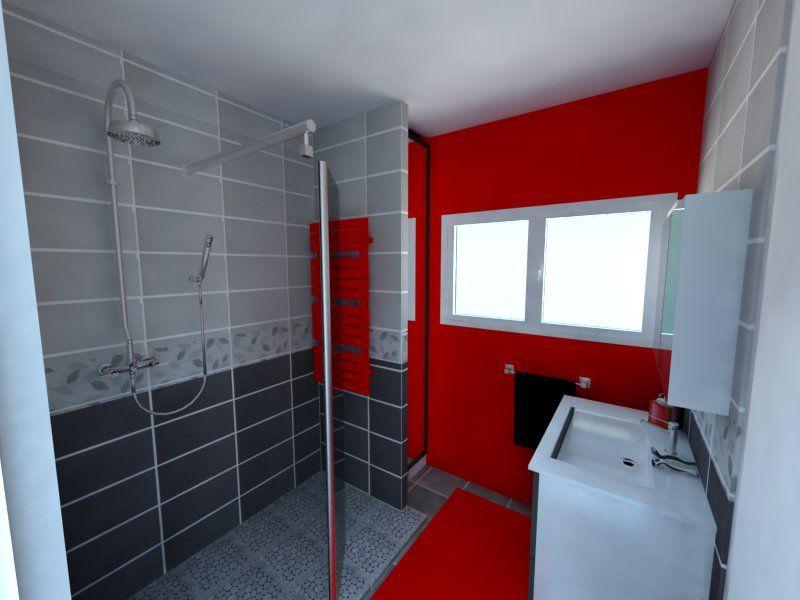 sdb gris et rouge douche a l