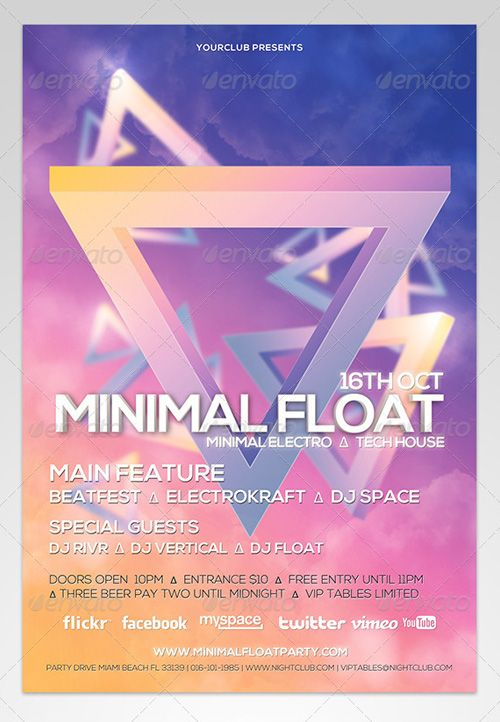 Weekly featured Minimal Float Electro Flyer PSD Template   - electro flyer