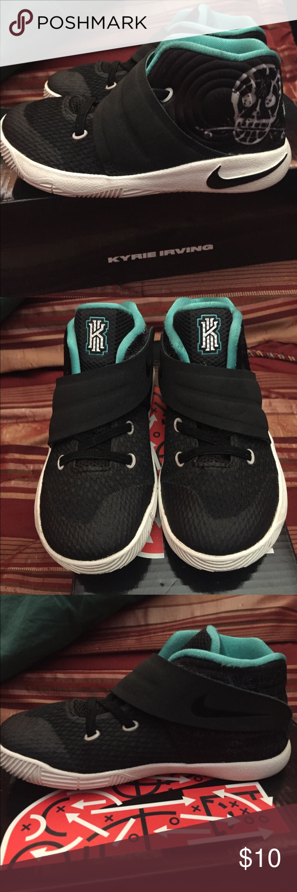 best sneakers 58ebb 1538a Toddler Boys Basketball Shoes Kyrie 2 Toddler Boys Basketball Shoes Kyrie 2  used. There black, white sole and a white skull 💀 on the side with Teal  lining ...