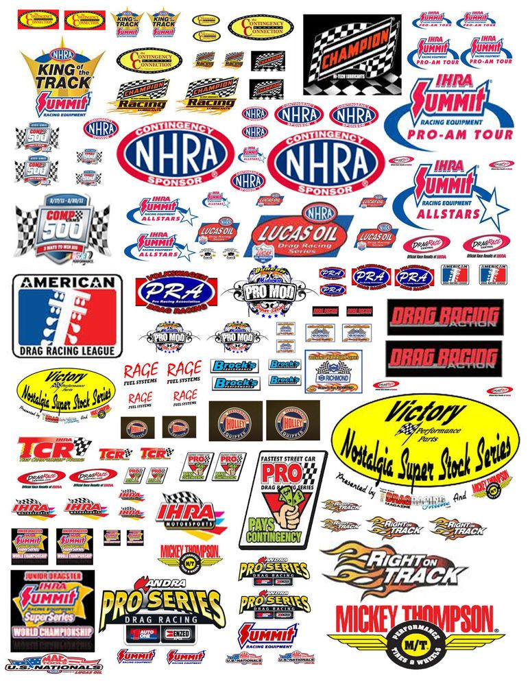 118 DRAG RACING CONTINGENCY DECALS FOR DIECAST CARS  DIORAMAS