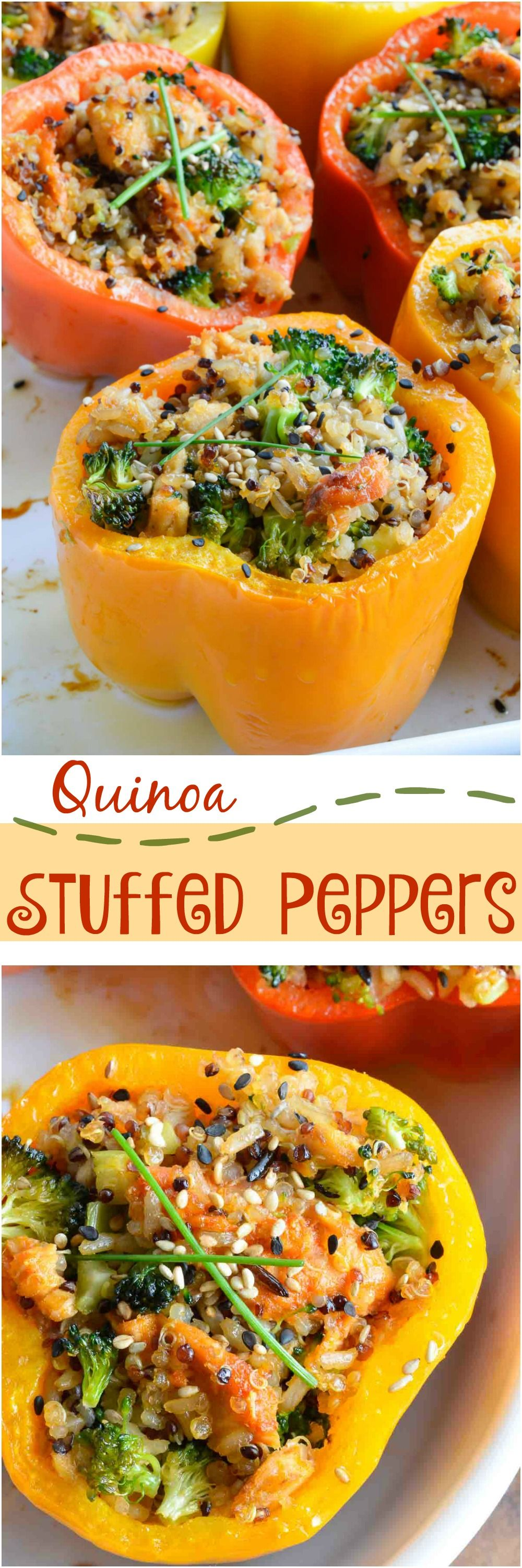 This dinner recipe is healthy, flavorful and satisfying. Salmon and Quinoa Stuffed Peppers make a nutritious meal! Sweet bell peppers stuffed with salmon, brown rice, quinoa, broccoli and a spicy Asian sauce. #dinner #healthy wonkywonderful.com