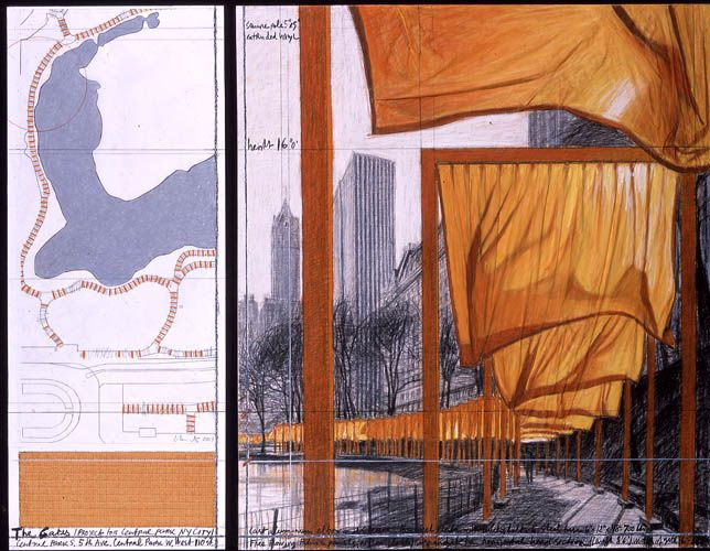 Christo And Jeanne Claude Drawing From The Gates Christo And Jeanne Claude The Gates Central Park New Y Christo And Jeanne Claude Art The Gates Christo