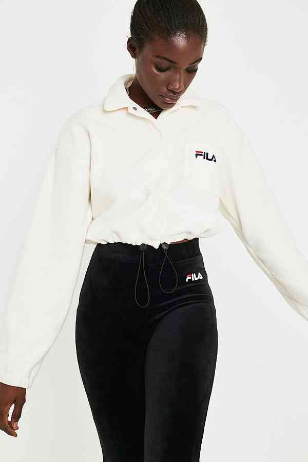 FILA Holly Cropped Ecru Fleece Shirt