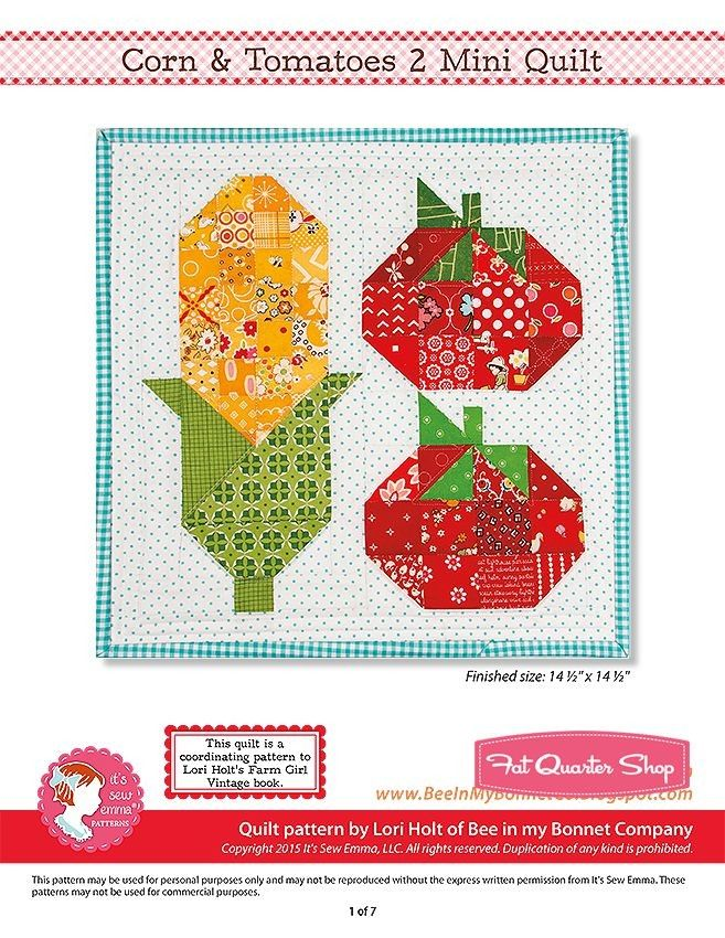 Corn & Tomatoes 2 Downloadable PDF Mini Quilt Pattern Bee in my