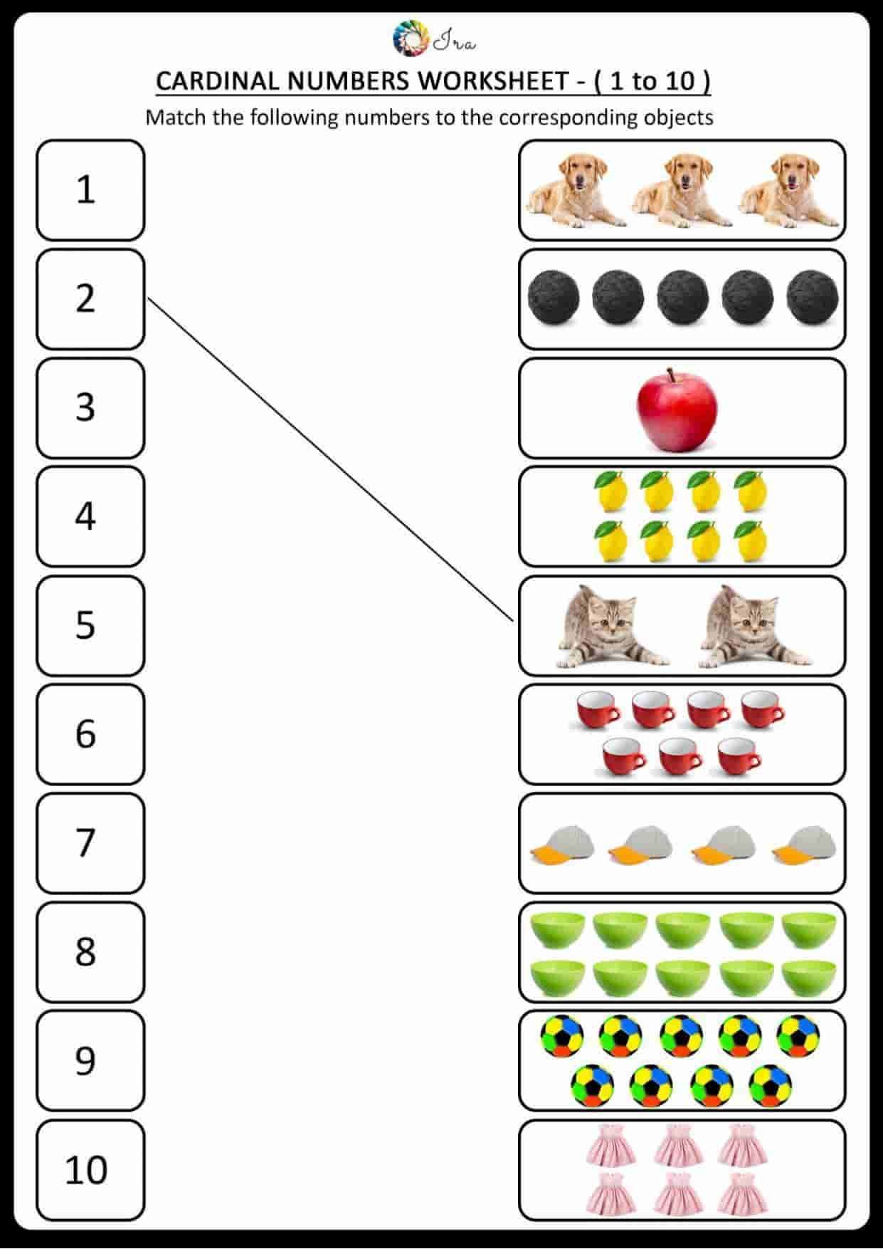 Free Downloadable Cardinal Numbers English Worksheets For