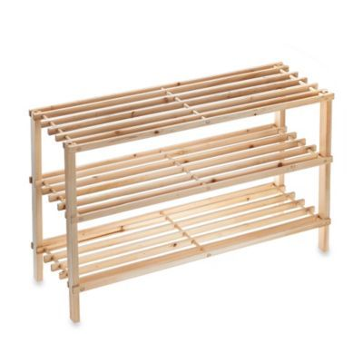3-Tier Stackable Wood Shoe Rack from Bed Bath u0026 Beyond is a cute little