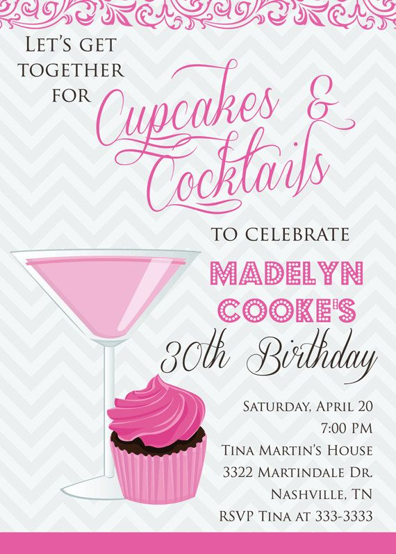 cupcakes cocktails 30th adult birthday party by partypopinvites 1700