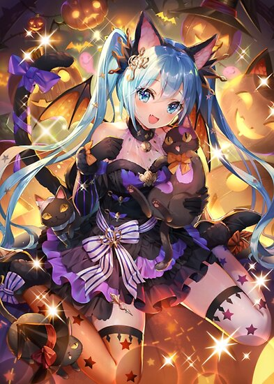 Anime Halloween Set 1 6 Neko Poster By Lawliet1568 Anime Halloween Anime Chibi Hatsune Miku