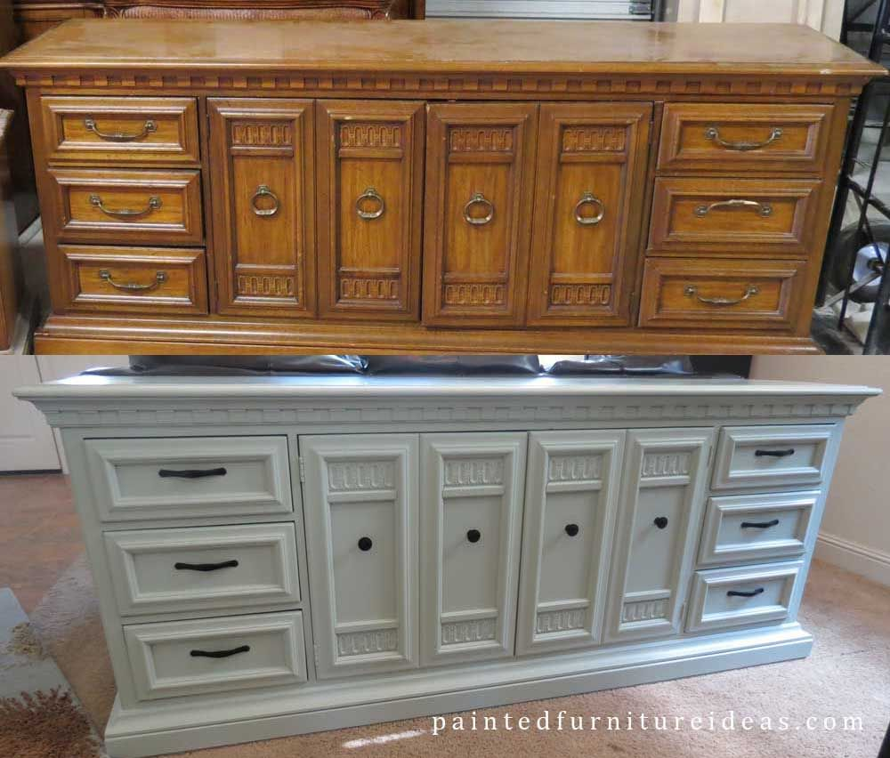 Painted furniture ideas before and after - Long Dresser Refinished In Light Sage