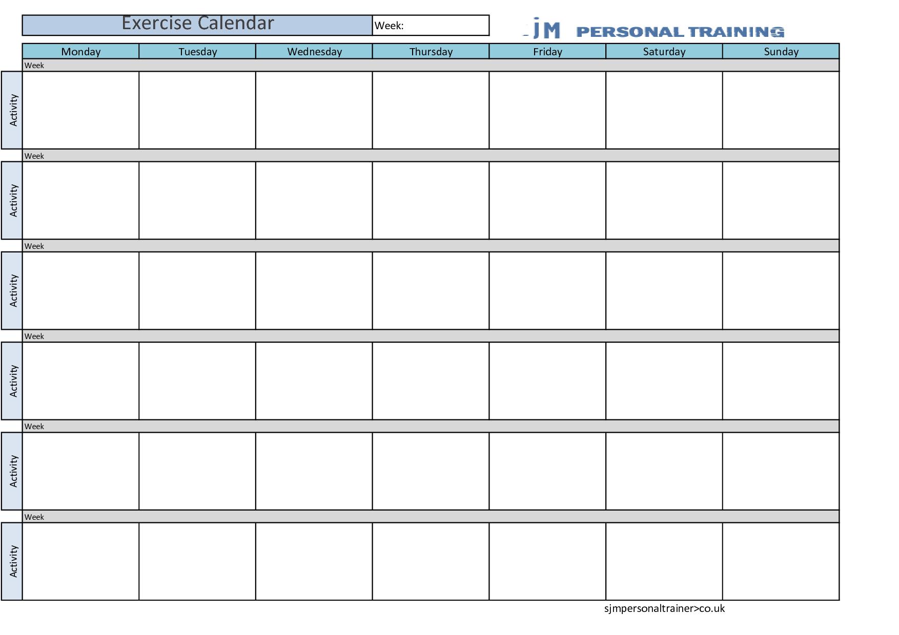 exercise calendar by kerrybuckvic xmdrrdox calendar templates