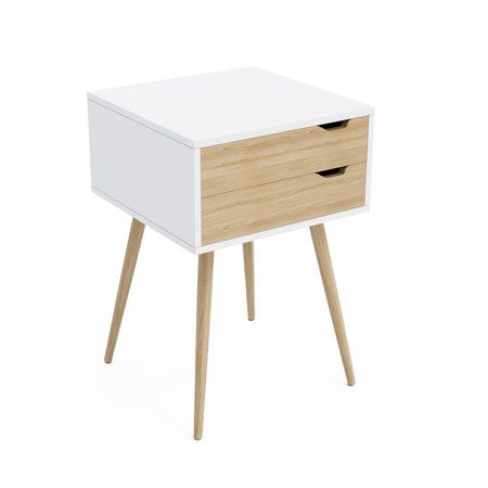 Blythe 2 Drawer Side Table In White With Natural Wood Finish