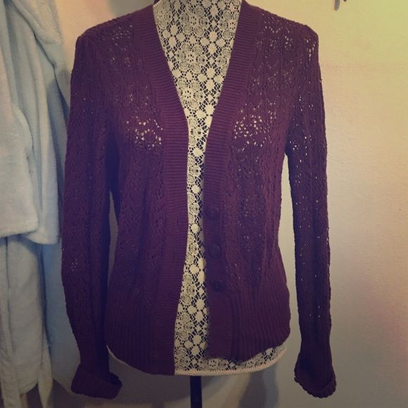 Maroon cardigan Cute maroon colored cardigan. Size large but fits medium also a.n.a Sweaters Cardigans