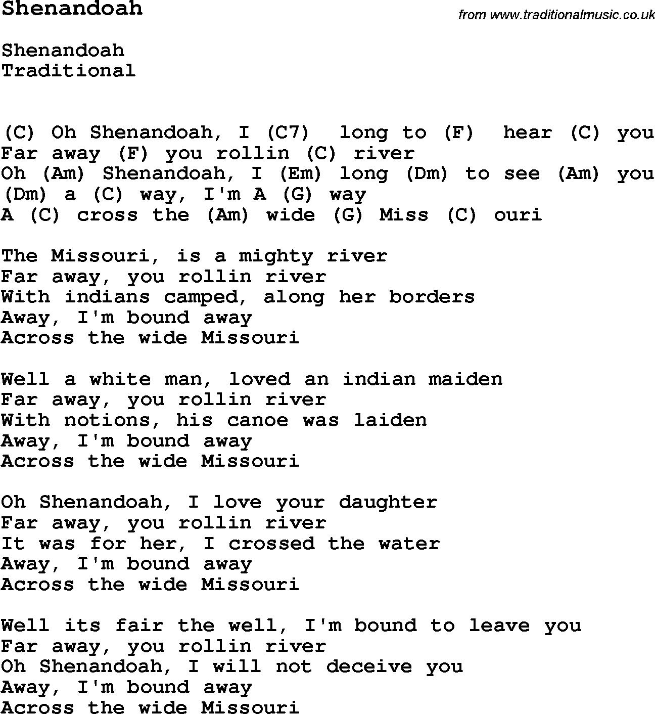 Traditional song shenandoah with chords tabs and lyrics folk traditional song shenandoah with chords tabs and lyrics hexwebz Images