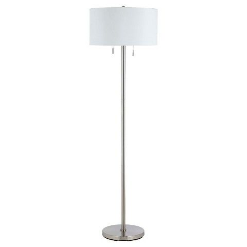 Cal lighting calais brushed steel silver finish metal floor lamp cal lighting calais brushed steel silver finish metal floor lamp with 2 bulb sockets aloadofball Image collections