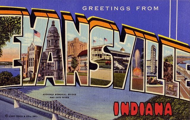 Greetings From Evansville Indiana Large Letter Postcard
